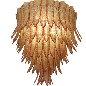 Grand lustre verre Murano beige et rouge