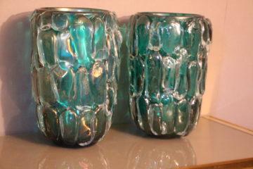 Paire de grands vases en verre de Murano bleu-vert émeraude de Cenedese Murano