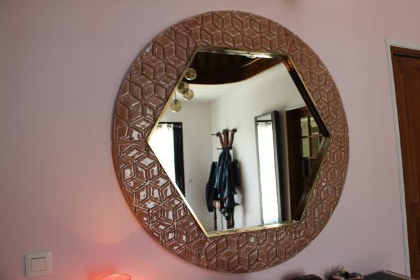 miroir en verre de Murano rose