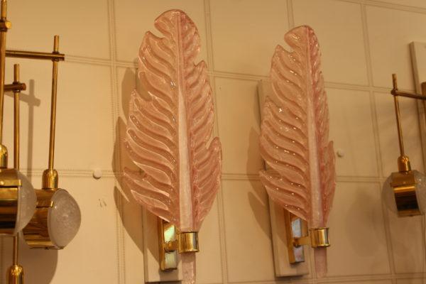 Paire d'appliques en verre de Murano rose