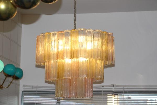 Lustre ovale jaune,rose et blanc en verre de Murano,style Venini