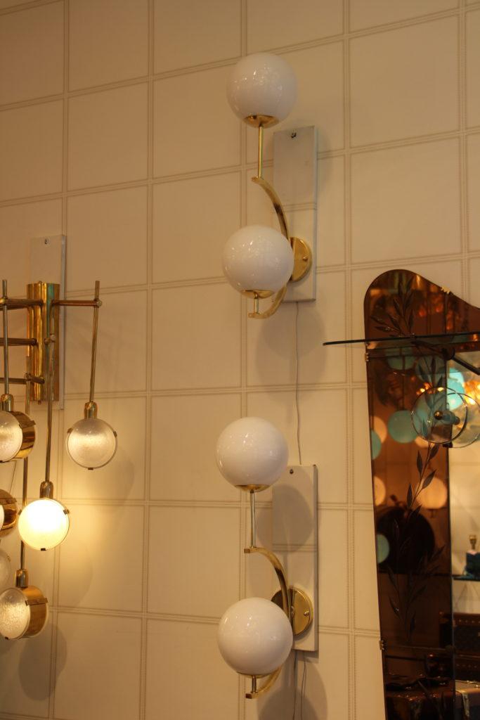 Paire d'appliques en verre de Murano design blanc