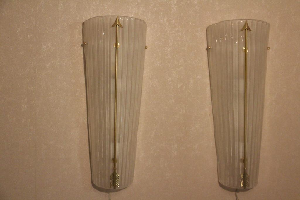 Appliques vintage verre blanc