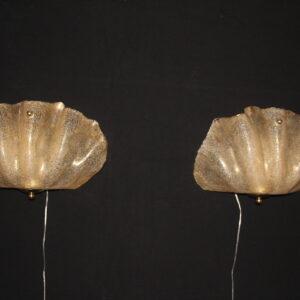 Appliques verre de Murano doré, forme coquillage