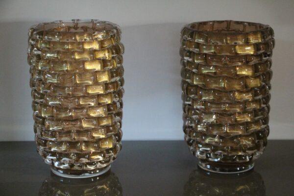 paire de vases dorés en verre de Murano