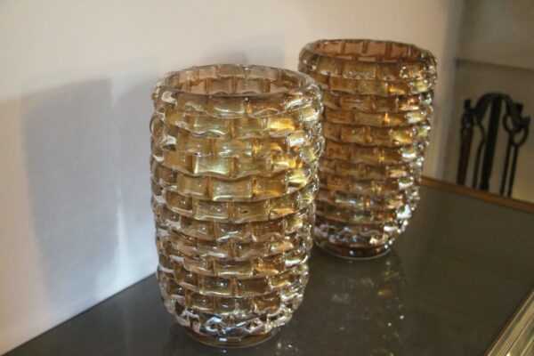 Paire de Grands Vases en Verre de Murano Doré et Irisé