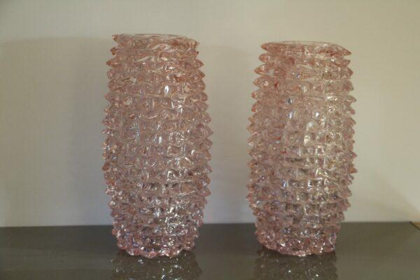 Paire de Grands Vases Roses en Verre de Murano à Décor de Pointes, Style Barovier