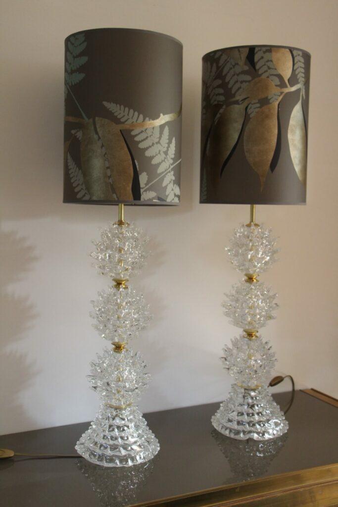 Paire de Grandes Lampes en Verre de Murano Rostrato Clair