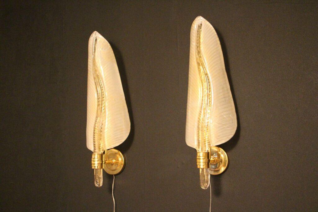 Paire d'Appliques en Verre de Murano Doré, Appliques Forme Feuille, Style Barovier
