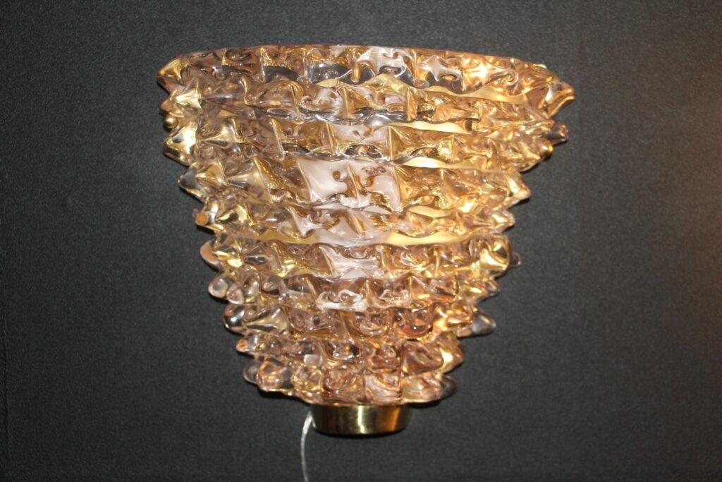 Paire d'appliques roses en verre de Murano dans le style de Barovier e Toso